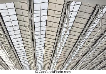 Modert roof of contemporary hall