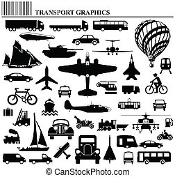 Modes of transportation graphic collection individually ...