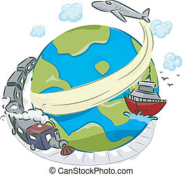 Illustration of a Globe Surrounded by a Plane, a Boat, and a Train