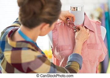 modeschneiderin, einstellung, mannequin., kleidung, hintere ...