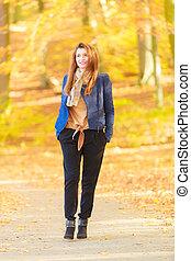 Modest girl in park