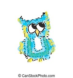 modest little blue owl. Vector illustration. Drawing by hand.