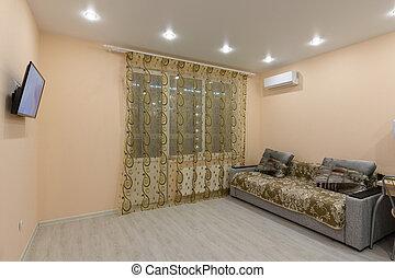 modesto, mobilia, stanza, spazioso, interno