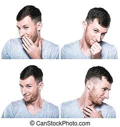 modesto, tímido, colagem, rosto, expressões, blushful
