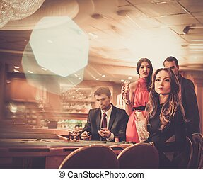 modieus, casino, groep, spelend, mensen