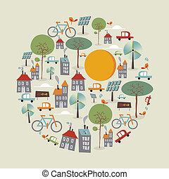 modieus, gaan, cirkel, groene, iconen