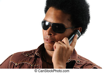 modieus, gebruik, cel, man, telefoon