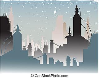 modieus, gloeiend, vervagen, futuristisch, stad