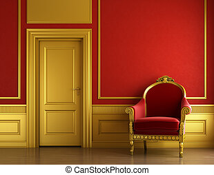 modieus, gouden, en, rood, interieurdesign