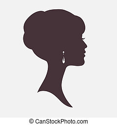 modieus, hairstyle, vrouw, silhouette, gezicht