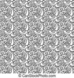 modieus, hand, pattern., seamless, getrokken