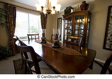 modieus, het dineren, moderne kamer