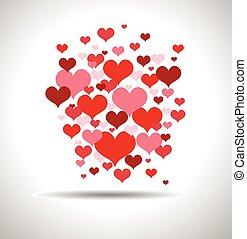 modieus, liefde, kaart, met, rood, hartjes