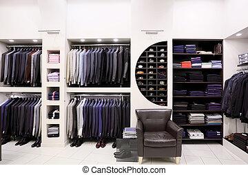 modieus, mannen, kleren, in, winkel
