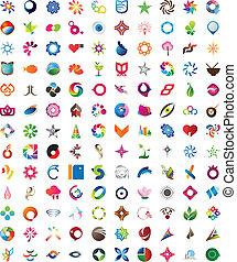 modieus, reusachtig, verzameling, iconen