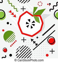 modieus, seamless, vector, memphis, model, stijl, geometrisch, appel