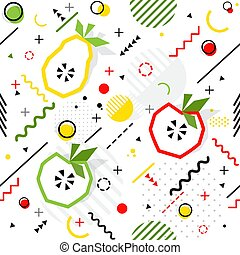 modieus, seamless, vector, memphis, model, stijl, peer, geometrisch, appel