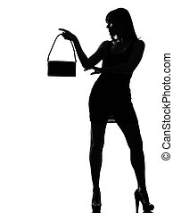 modieus, silhouette, vrouwenholding, buidel, w