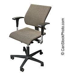 modieus, stoel, kantoor, bruine