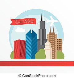 modieus, vector, silhouette., gedetailleerd, illustratie, landmarks., chicago, kleurrijke, modieus, style., plat