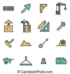 modieus, vlake lijn, pictogram, troep, voor, ontwerpers, en, developers., vector, lijn, bouwsector, pictogram, set