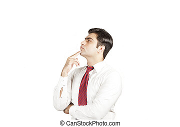 modieus, zakenman, denken