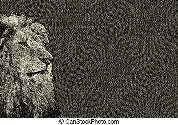modifié tonalité, carte, isolé, sépia, figure, lion, 3d