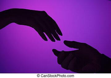 modifié tonalité, concept, autre., love., soutien, mains, femme, chaque, soin, dessiné, mâle