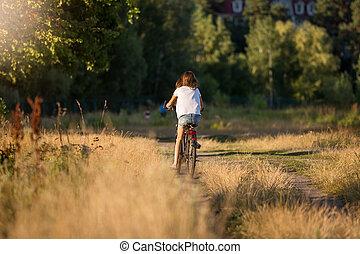 modifié tonalité, femme, vélo, pré, image, monter loin