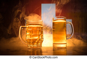 modifié tonalité, pays, concept., soutien, brouillé, lunettes bière, créatif, sombre, drapeau, fond, table, brumeux, switzerland., ton, vue