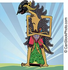 a modified form of puppet into a vector graphic shapes, seen a knight who was practicing asceticism, arms crossed, standing tall, long loose hair, and stylized plant on the bottom, as well as the background light tinge.
