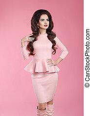 modisch, angezogene , frau, in, rosa, dress., junger, schöne...