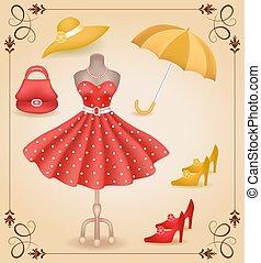 modisch, kleiden, in, retro stil, und, accessoirs