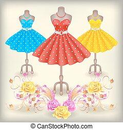 modisch, kleiden, mit, polka- punkte, in, retro stil, auf,...