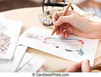 modista, bosquejo, moda, dibujo