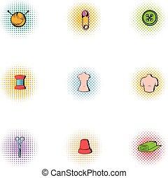 modistas, gama, conjunto, herramientas, iconos