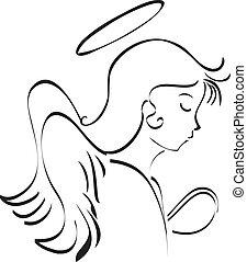 modlący się, anioł
