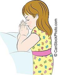 modlący się, dziewczyna, łóżko, jej, klęczący