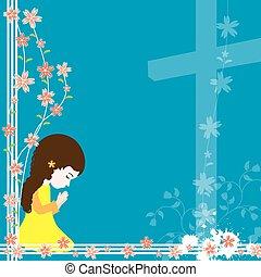 modlący się, dziewczyna