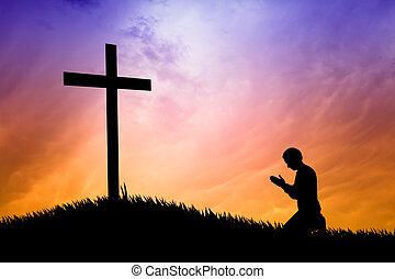 modlący się, krzyż, człowiek, pod