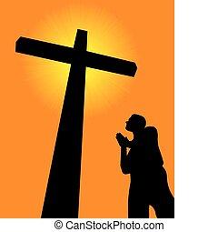modlący się, krzyż, przed