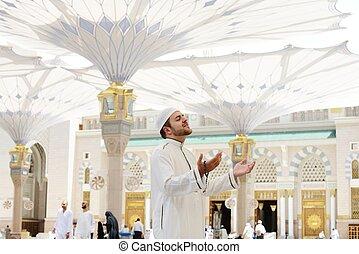 modlący się, meczet, medyna, muslim