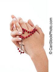 modlący się, różaniec, odizolowany