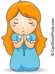 modlący się, różaniec