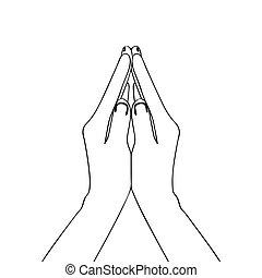 modlący się, ręka, szkic, odizolowany