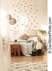 modny, łóżko, sypialnia
