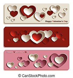 modny, chorągwie, dla, valentine dzień