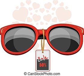 modny, czerwony, sunglasses., sprzedaż
