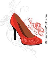 modny, elegancki, czerwone obuwie