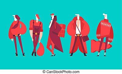 modny, fason, modny, set., claus, nowoczesny, grandfather., ...